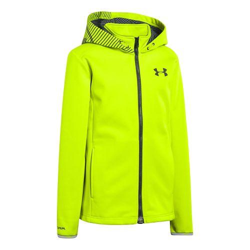 Kids Under Armour Boys ColdGear Infared Storm MagZip Running Jackets - High Vis Yellow S ...