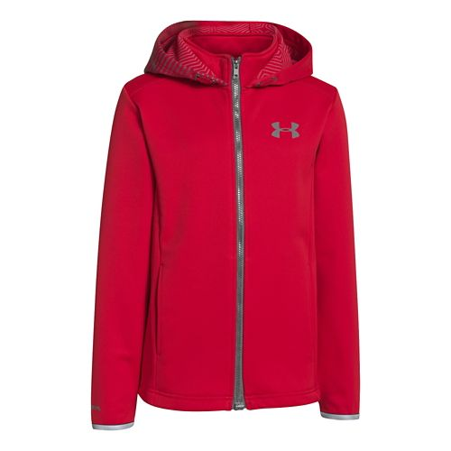 Kids Under Armour Boys ColdGear Infared Storm MagZip Running Jackets - Red M