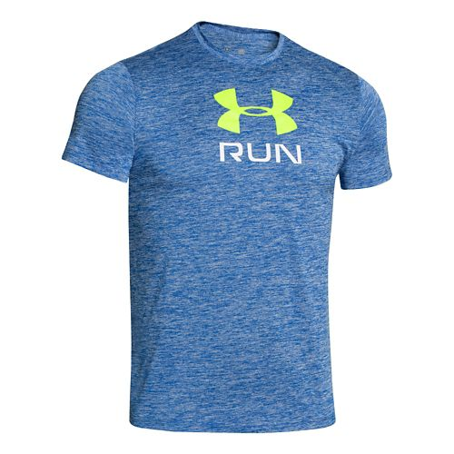Mens Under Armour Run Big Twist T Short Sleeve Technical Tops - Scatter/Hi-Viz Yellow M ...
