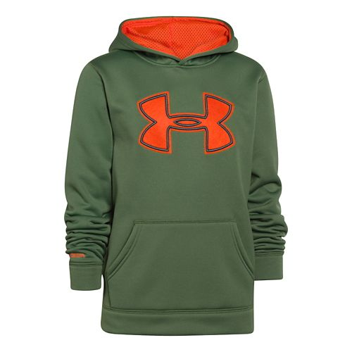 Kids Under Armour Boys Armour Fleece Storm Big Logo Warm-Up Hooded Jackets - Kale/Graphite YL ...
