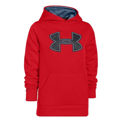 Kids Under Armour Boys Armour Fleece Storm Big Logo Warm-Up Hooded Jackets - Risk Red/Thunder ...
