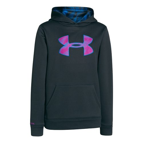 Kids Under Armour Boys Armour Fleece Storm Big Logo Warm-Up Hooded Jackets - Anthracite/Strobe ...