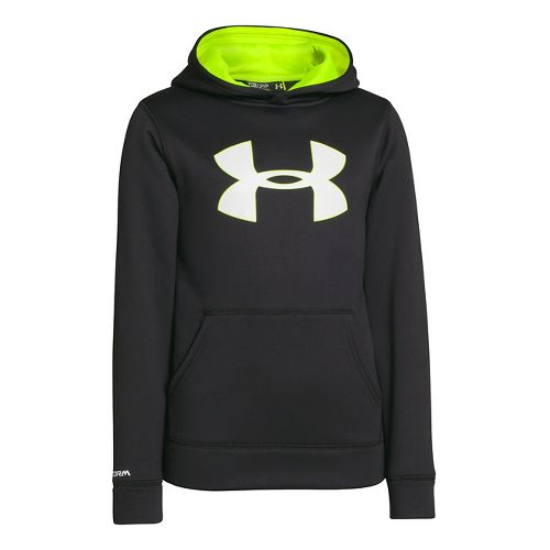 Kids Under Armour Boys Armour Fleece Storm Big Logo Hoody Warm-Up Hooded Jackets - Black/High ...
