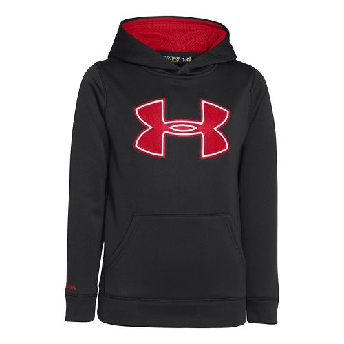 Kids Under Armour Boys Armour Fleece Storm Big Logo Warm-Up Hooded Jackets - Black/Red L ...