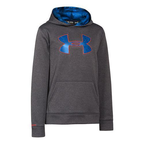 Kids Under Armour Boys Armour Fleece Storm Big Logo Hoody Warm-Up Hooded Jackets - Carbon ...