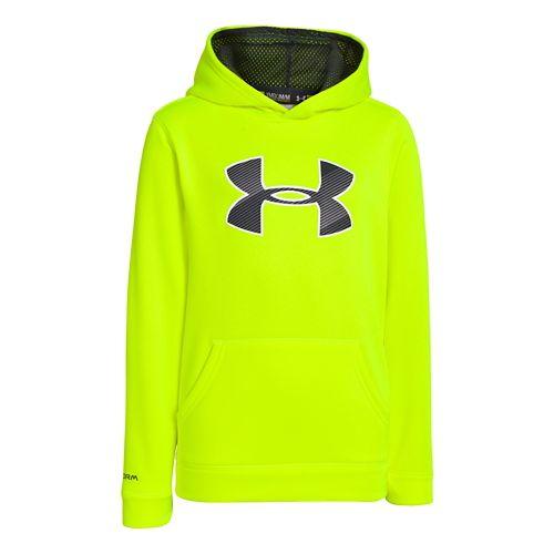 Kids Under Armour Boys Armour Fleece Storm Big Logo Warm-Up Hooded Jackets - High Vis ...
