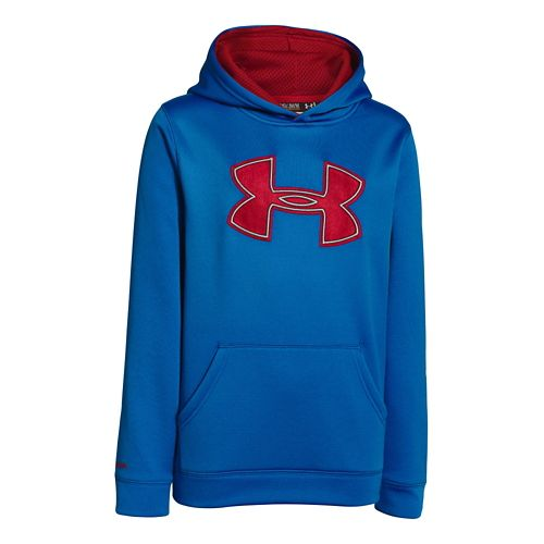 Kids Under Armour Boys Armour Fleece Storm Big Logo Warm-Up Hooded Jackets - Scatter/Ruby M ...