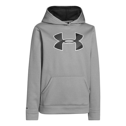 Kids Under Armour Boys Armour Fleece Storm Big Logo Hoody Warm-Up Hooded Jackets - True ...