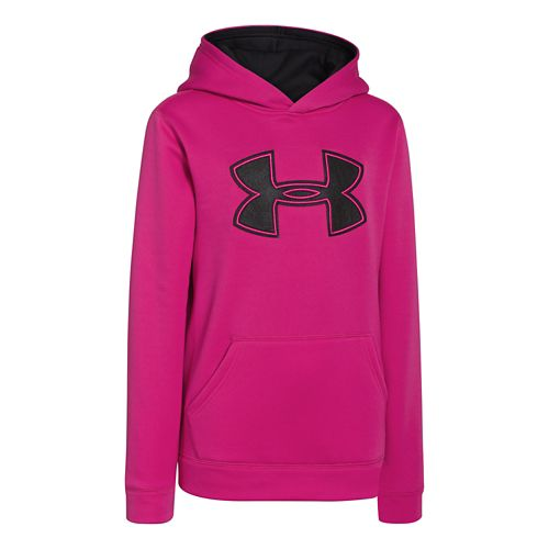 Kids Under Armour Boys Armour Fleece Storm Big Logo Warm-Up Hooded Jackets - Tropic Pink/Black ...