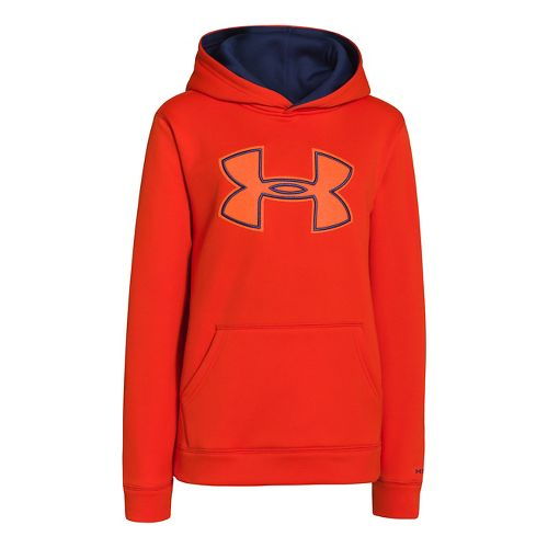 Kids Under Armour Boys Armour Fleece Storm Big Logo Warm-Up Hooded Jackets - Volcano/Deep Space ...
