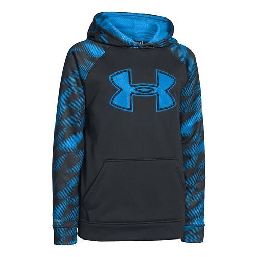 Kids Under Armour Boys Armour Fleece Storm Big Logo Novelty Hoody Warm-Up Hooded Jackets - ...