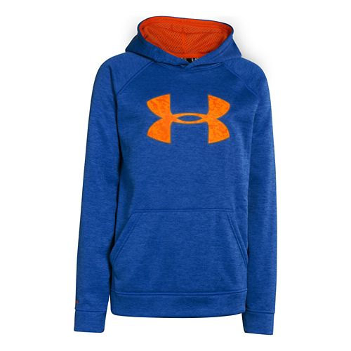 Kids Under Armour Boys Armour Fleece Storm Big Logo Novelty Hoody Warm-Up Hooded Jackets - ...