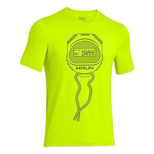 Mens Under Armour Stopwatch T Short Sleeve Technical Tops - Hi-Viz Yellow M