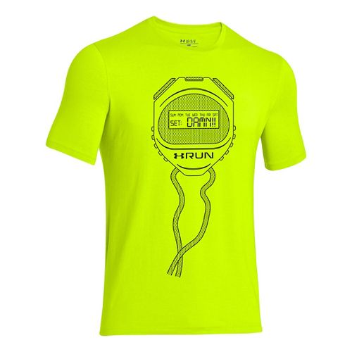 Mens Under Armour Stopwatch T Short Sleeve Technical Tops - Hi-Viz Yellow S
