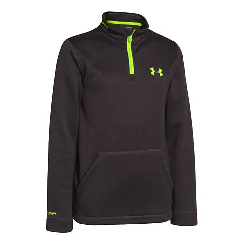 Kids Under Armour Boys Armour Fleece Storm Long Sleeve 1/2 Zip Technical Tops - Asphalt ...