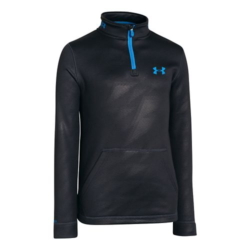 Kids Under Armour Boys Armour Fleece Storm Long Sleeve 1/2 Zip Technical Tops - Anthracite ...
