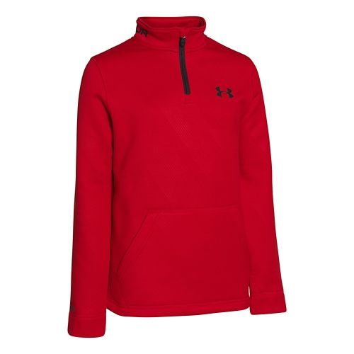 Kids Under Armour Boys Armour Fleece Storm Long Sleeve 1/2 Zip Technical Tops - Red ...