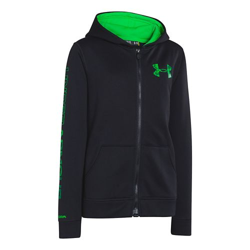 Kids Under Armour Boys Armour Fleece Storm MagZip Hoody Warm-Up Hooded Jackets - Black M ...