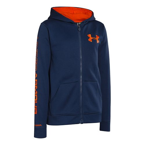 Kids Under Armour Boys Armour Fleece Storm MagZip Warm-Up Hooded Jackets - Deep Space Blue ...