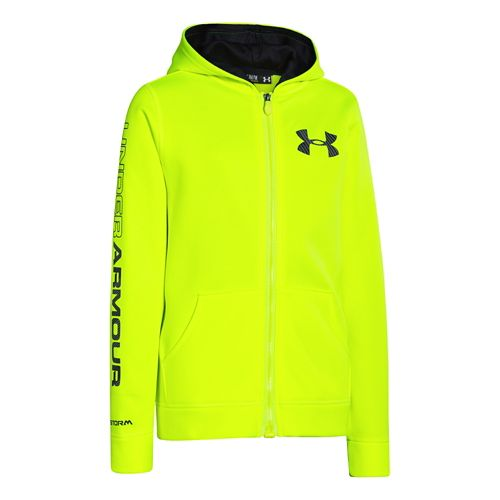 Kids Under Armour Boys Armour Fleece Storm MagZip Warm-Up Hooded Jackets - High Vis Yellow ...