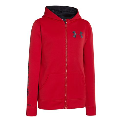 Kids Under Armour Boys Armour Fleece Storm MagZip Warm-Up Hooded Jackets - Red M