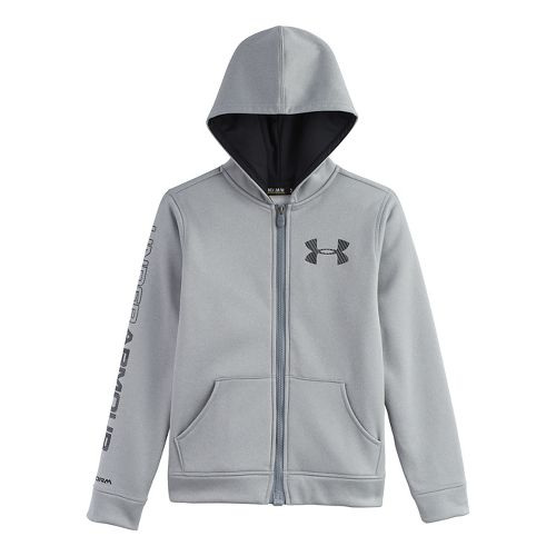 Kids Under Armour Boys Armour Fleece Storm MagZip Warm-Up Hooded Jackets - True Grey Heather ...