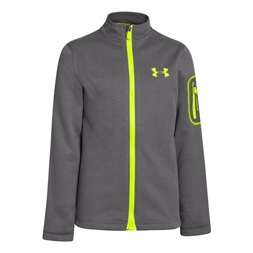 Kids Under Armour Boys Extreme ColdGear Light MagZip Warm-Up Unhooded Jackets - Graphite S