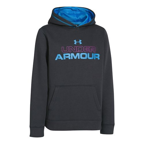 Kids Under Armour Boys Rival Cotton Holiday Hoody Warm-Up Hooded Jackets - Anthracite/Strobe M