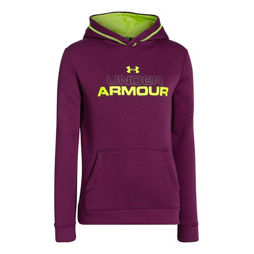 Kids Under Armour Boys Rival Cotton Holiday Hoody Warm-Up Hooded Jackets - Beet/High Vis Yellow ...