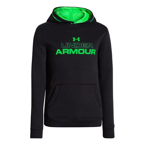 Kids Under Armour Boys Rival Cotton Holiday Hoody Warm-Up Hooded Jackets - Black/Blade M