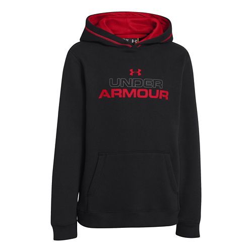 Kids Under Armour Boys Rival Cotton Holiday Hoody Warm-Up Hooded Jackets - Black/Graphite XS