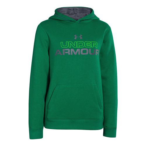 Kids Under Armour Boys Rival Cotton Holiday Hoody Warm-Up Hooded Jackets - Blade/Green Energy ...