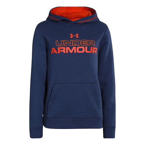 Kids Under Armour Boys Rival Cotton Holiday Hoody Warm-Up Hooded Jackets - Deep Space ...