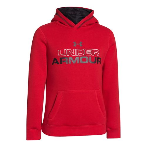 Kids Under Armour Boys Rival Cotton Holiday Hoody Warm-Up Hooded Jackets - Red/White M
