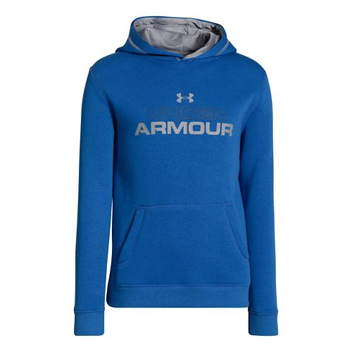 Kids Under Armour Boys Rival Cotton Holiday Hoody Warm-Up Hooded Jackets - Scatter/Deep Space ...