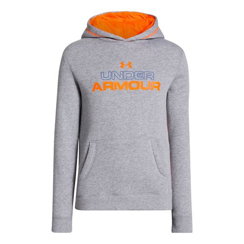 Kids Under Armour Boys Rival Cotton Holiday Hoody Warm-Up Hooded Jackets - True Grey ...