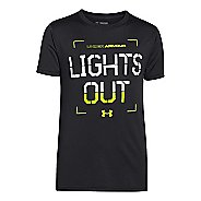 Kids Under Armour Boys Hazard Glow in the Dark T Short Sleeve Technical Tops