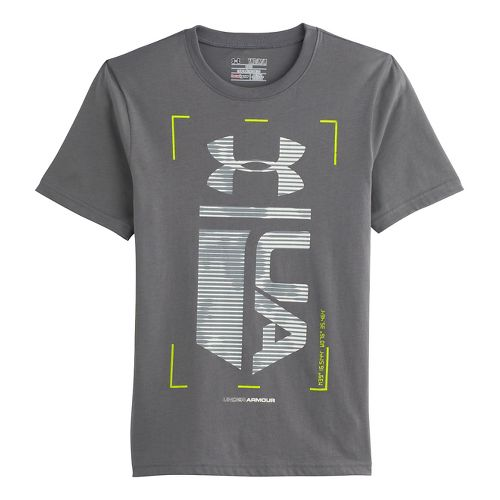 Kids Under Armour Boys Double Time Glow-in-the-Dark T Short Sleeve Technical Tops - Graphite M ...