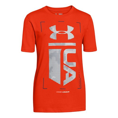 Kids Under Armour Boys Double Time Glow-in-the-Dark T Short Sleeve Technical Tops - Volcano M ...