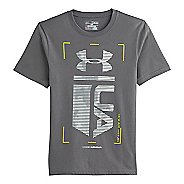 Kids Under Armour Boys Double Time Glow-in-the-Dark T Short Sleeve Technical Tops