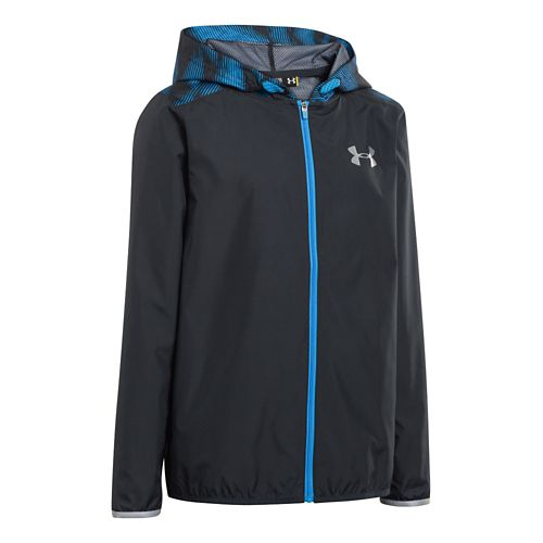 Kids Under Armour Boys Pulse Full Zip Running Jackets - Anthracite XS