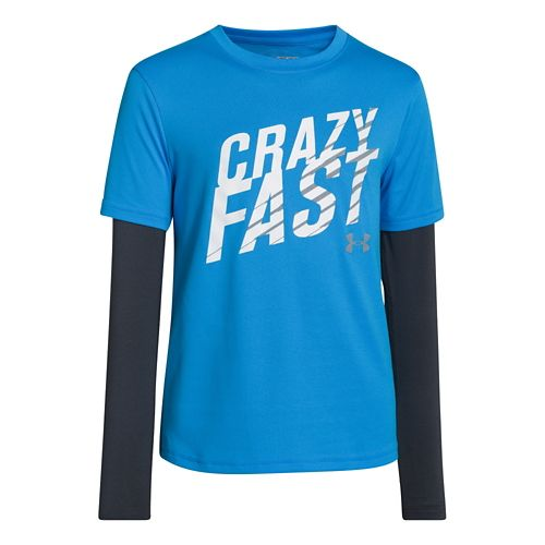 Kids Under Armour Boys Pulse 2-IN-1 Long Sleeve No Zip Technical Tops - Electric Blue ...