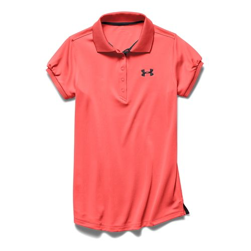 Kids Under Armour Girls Mirage Polo Short Sleeve Technical Tops - After Burn YS