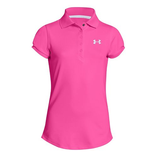Kids Under Armour Girls Mirage Polo Short Sleeve Technical Tops - Chaos L