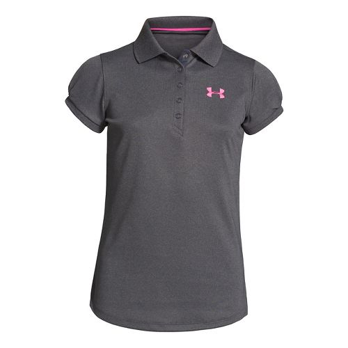 Kids Under Armour Girls Mirage Polo Short Sleeve Technical Tops - Carbon Heather XL