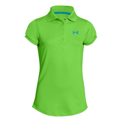 Kids Under Armour Girls Mirage Polo Short Sleeve Technical Tops - Gecko Green L