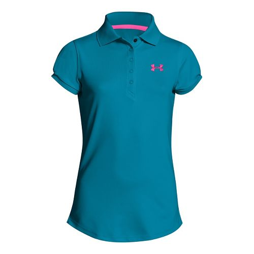 Kids Under Armour Girls Mirage Polo Short Sleeve Technical Tops - Teal Ice XS
