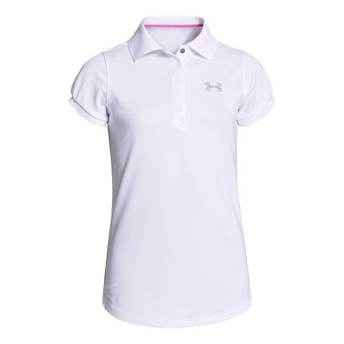 Kids Under Armour Girls Mirage Polo Short Sleeve Technical Tops - White XS