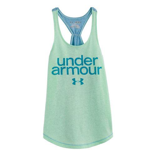 Kids Under Armour Girls Qualifier Triblend Tanks Technical Tops - Aloe XS