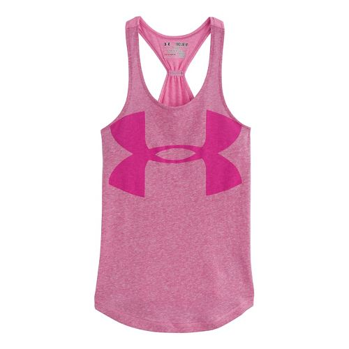 Kids Under Armour Girls Qualifier Triblend Tanks Technical Tops - Magenta Shock XS